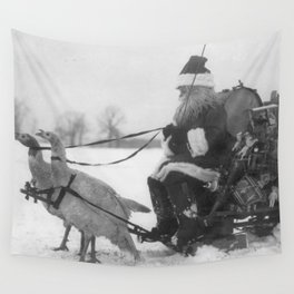 Santa and His Turkey Reindeer Wall Tapestry
