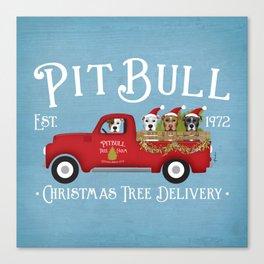 Pitbull Pit Bull Dog Christmas Tree Farm Vintage Red Truck  Canvas Print