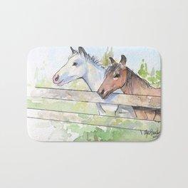 Horses Watercolor Sketch Barn Animals Horse Bath Mat