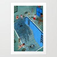 pool Art Prints featuring Pool by Valeriya Volkova