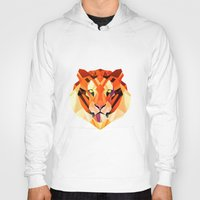 low poly Hoodies featuring Low Poly Tiger by Evan Smith