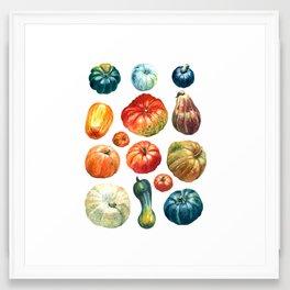 Colourful pumpkins pattern Framed Art Print