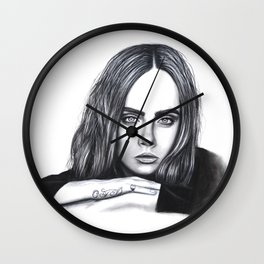 cara in charcoal Wall Clock