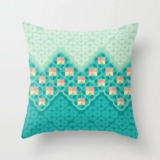 Blue Garden Pattern Throw Pillow