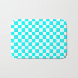 Small Checkered - White and Aqua Cyan Bath Mat