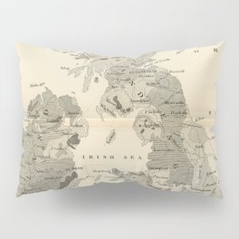Vintage and Retro Geological Map British Isles Pillow Sham