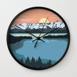 Lake Illustration Wall Clock