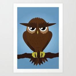 Angry Owl Art Print