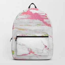 White faux marble colorful veine accents Backpack