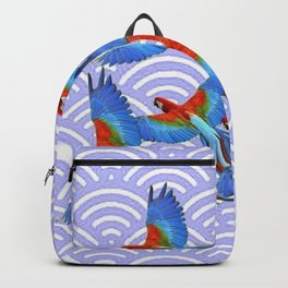 MODERN ART BLUE & RED TROPICAL MACAWS IN FLIGHT ART f Backpack