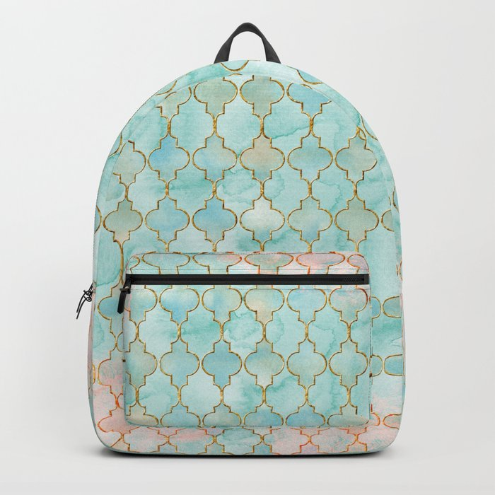 Luxury Aqua and Pink and Gold oriental pattern Backpack