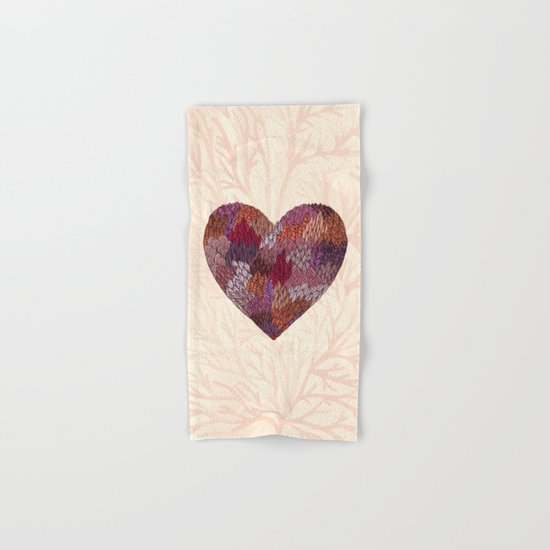 Pink Heart Hand & Bath Towel