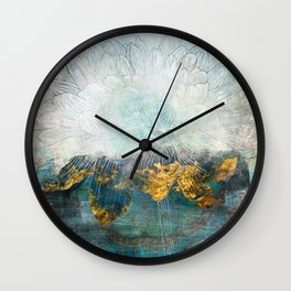 Lapis - Contemporary Abstract Textured Floral Wall Clock