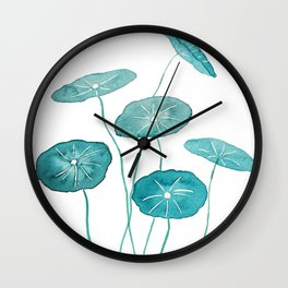 whorled umbrella plant leaf watercolor Wall Clock