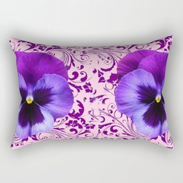PINK ART &  LILAC PURPLE PANSY SPRING FLORAL PATTERN Rectangular Pillow
