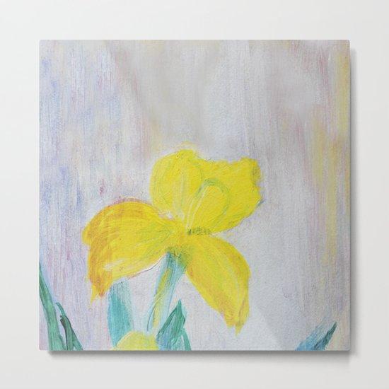 yellow summer iris Metal Print