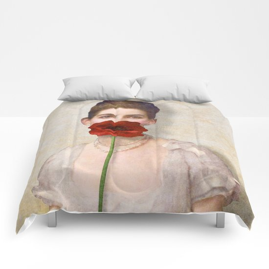 Girl with Red Poppy Flower Comforters