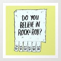 rock and roll Art Prints featuring Believe in Rock & Roll by Josh LaFayette