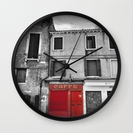 Red Caffe in Venice Black and White Photography Wall Clock