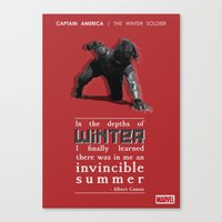bucky barnes Canvas Prints featuring BUCKY BARNES - LITERARY QUOTES by Samantha Panther