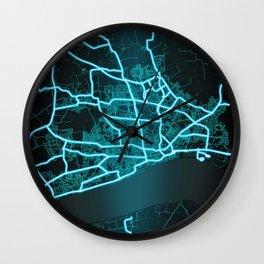 Kingston upon Hull, England, Blue, White, Neon, Glow, City, Map Wall Clock