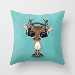 Cute Musical Reindeer Dj Wearing Headphones on Blue Throw Pillow