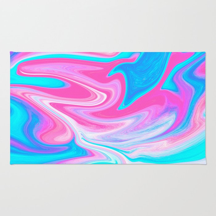 Modern abstract pink turquoise blue bright marble effect Rug