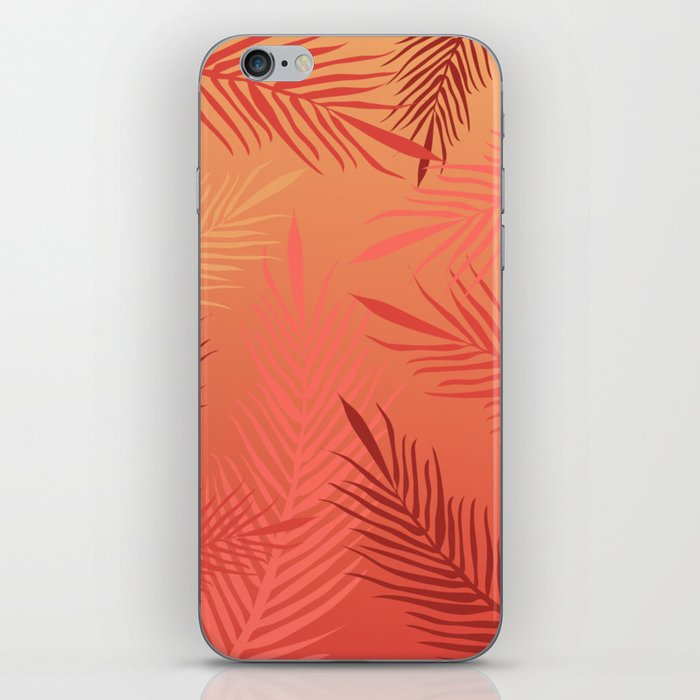Living coral palm leaves iPhone Skin