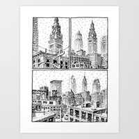 cleveland Art Prints featuring Snowy Cleveland by Joseph Remnant