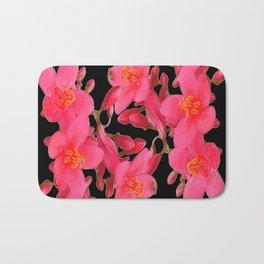 PINK FLOWER BLOSSOMS  BLACK SPRING ART Bath Mat