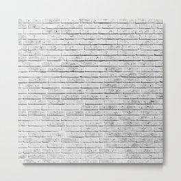 Vintage style rustic white brick wall texture Metal Print