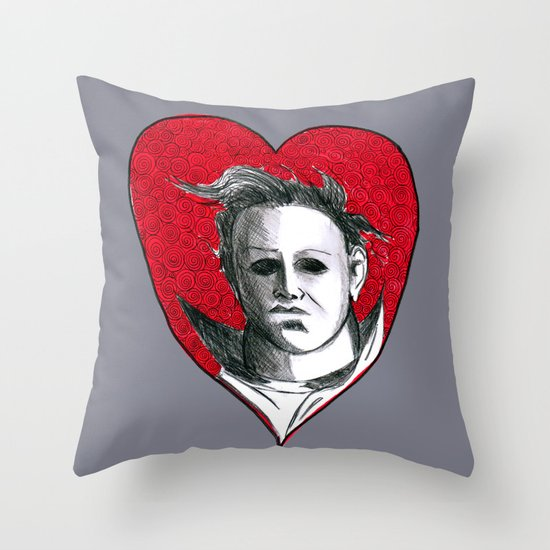 Micheal Myers (All Heart) Throw Pillow