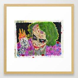 Zombie joker Framed Art Print