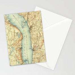 Vintage Map of Tarrytown NY & The Hudson River Stationery Cards