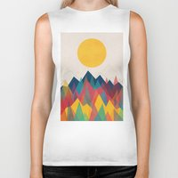 mountains Biker Tanks featuring Uphill Battle by Picomodi