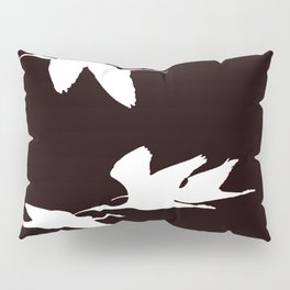 White Silhouette of Glossy Ibises In Flight Pillow Sham