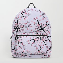 Geometric sumi-e pattern of cherry blossoms Purple Backpack