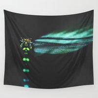 dragonfly Wall Tapestries featuring dragonfly by Ingrid Beddoes photography