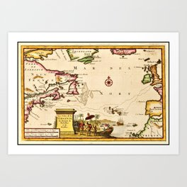 1707 Cape Cod and Martha's Vineyard Old World Map Art Print