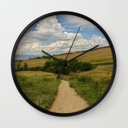 Climb to the top of forgiveness on the road to Santiago, Spain Wall Clock