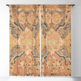 Persian Motif III // 17th Century Ornate Rose Gold Silver Royal Blue Yellow Flowery Accent Rug Patte Blackout Curtain