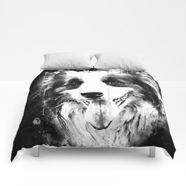 border collie shepherd dog splatter watercolor white Comforters