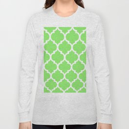 MOROCCAN LIME GREEN AND WHITE PATTERN Long Sleeve T-shirt