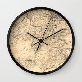 Map of the City of Boston and Vicinity (1907) Wall Clock