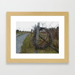 Country gravel road with circle wreath Framed Art Print