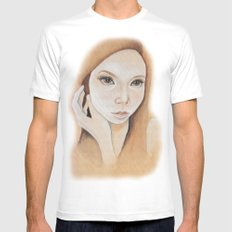 Self Portrait on Wood White MEDIUM Mens Fitted Tee