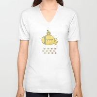 yellow submarine V-neck T-shirts featuring Yellow Submarine by Brenda Figueroa Illustration