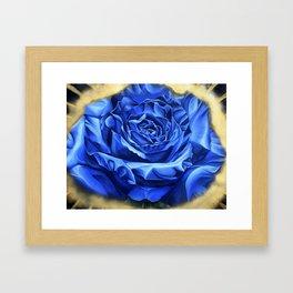 Blue Rose Graffiti, realism, gold, flower, dia de los muertos Framed Art Print