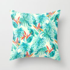 Tropical Paradise Pale Yellow Throw Pillow