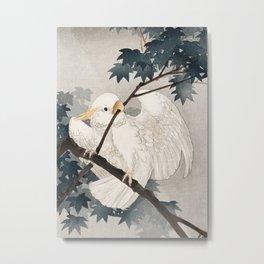 Cockatoo on a tree - Japanese vintage woodblock print Metal Print